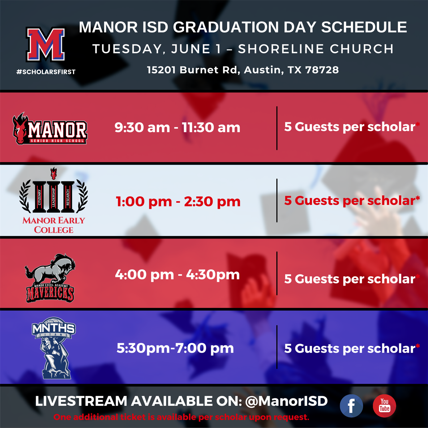 Manor ISD Graduation Day 2021 Schedule
